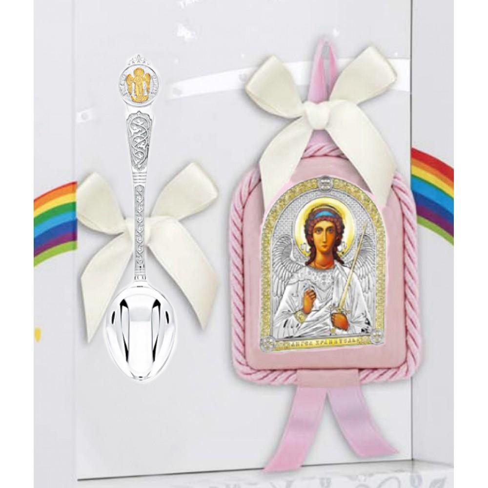 Крестильный набор Ангел-Хранитель розовый