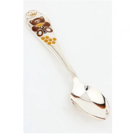Серебряная ложка Мишка с эмалью