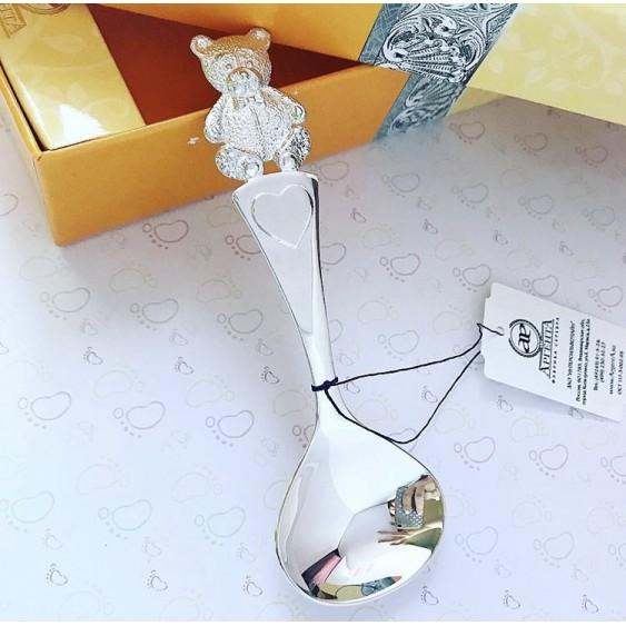Серебряная ложка Мишутка широкая