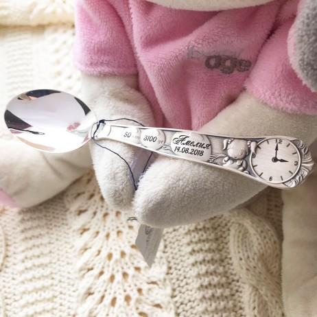 Детская серебряная ложка с гравировкой Кукла