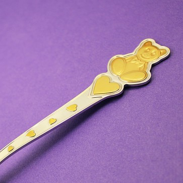 Детская серебряная ложка Мишка с сердечками