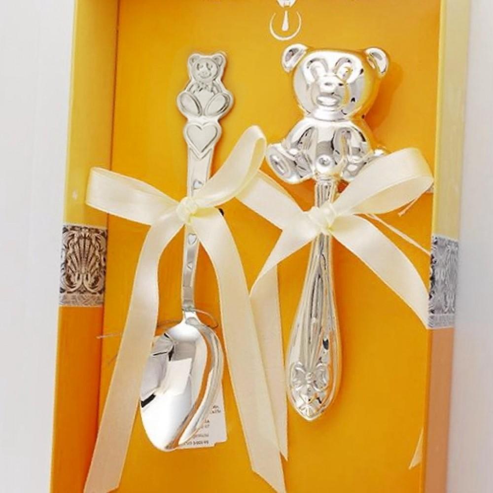 Набор детского серебра Мишки погремушка и ложка