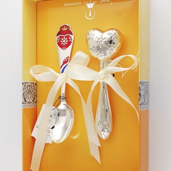 Набор детского серебра Сердечко для девочки
