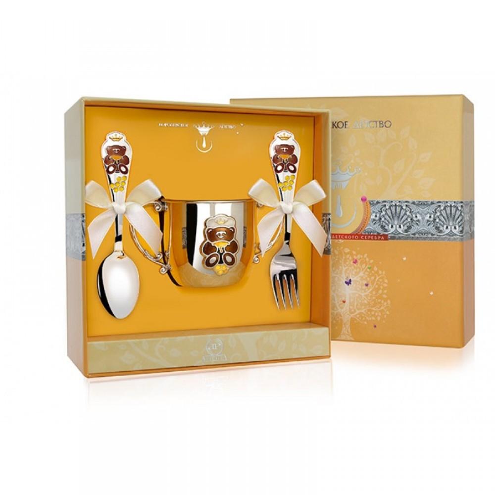 Детский серебряный набор с поильником Мишка
