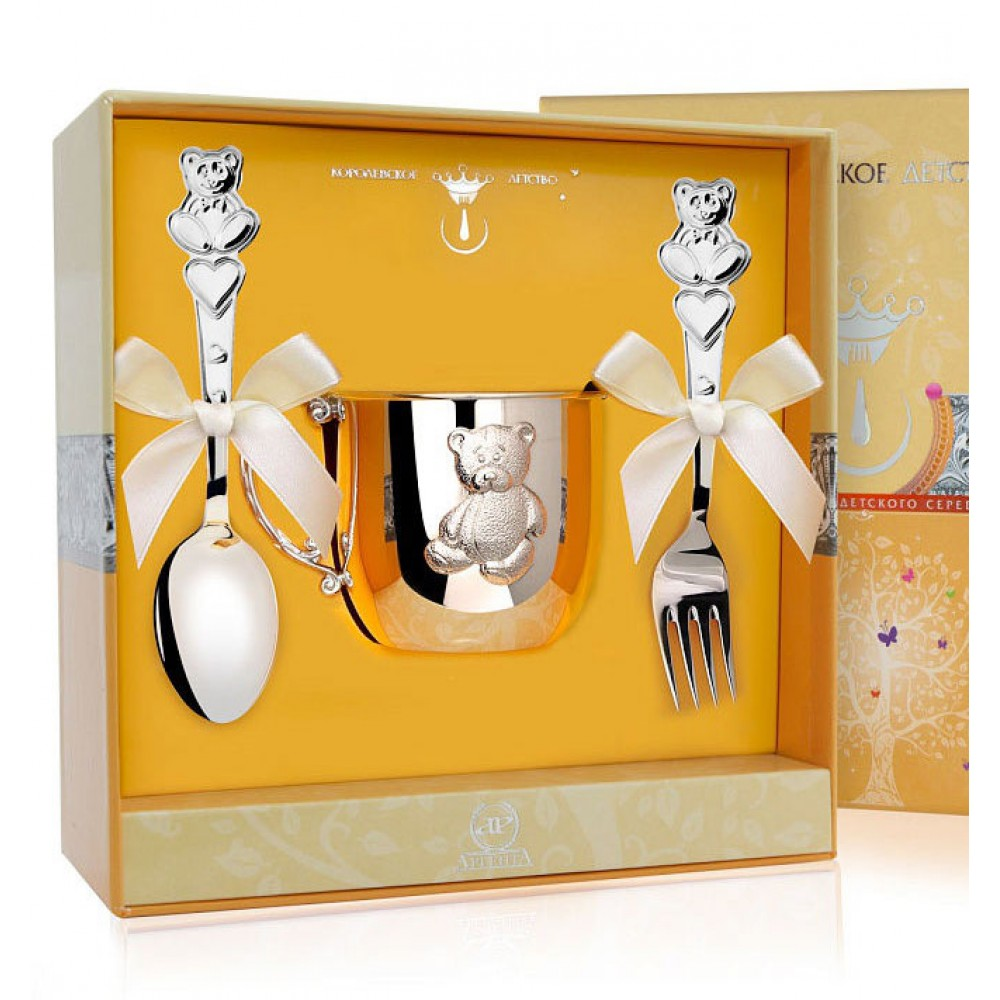 Детский серебряный набор с кружкой Мишка