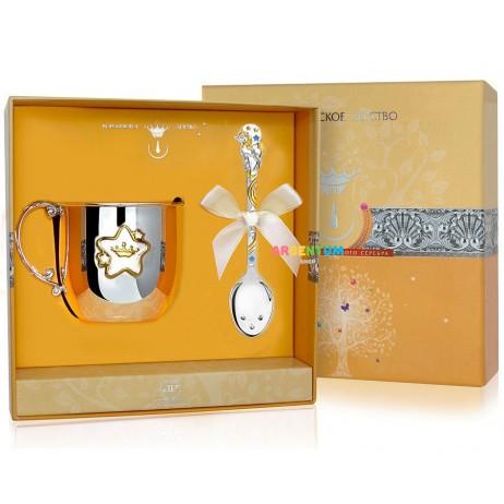 Детский набор Единорог с кружкой и ложкой серебро