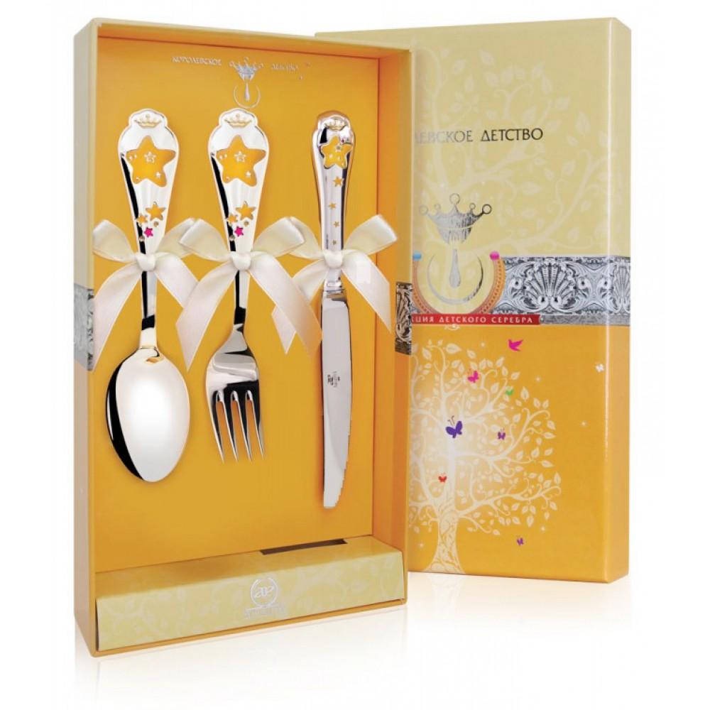 Детский набор Звезда с эмалью ложка, вилка, нож