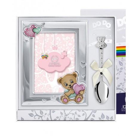 Набор Медведь розовый фоторамка и ложка
