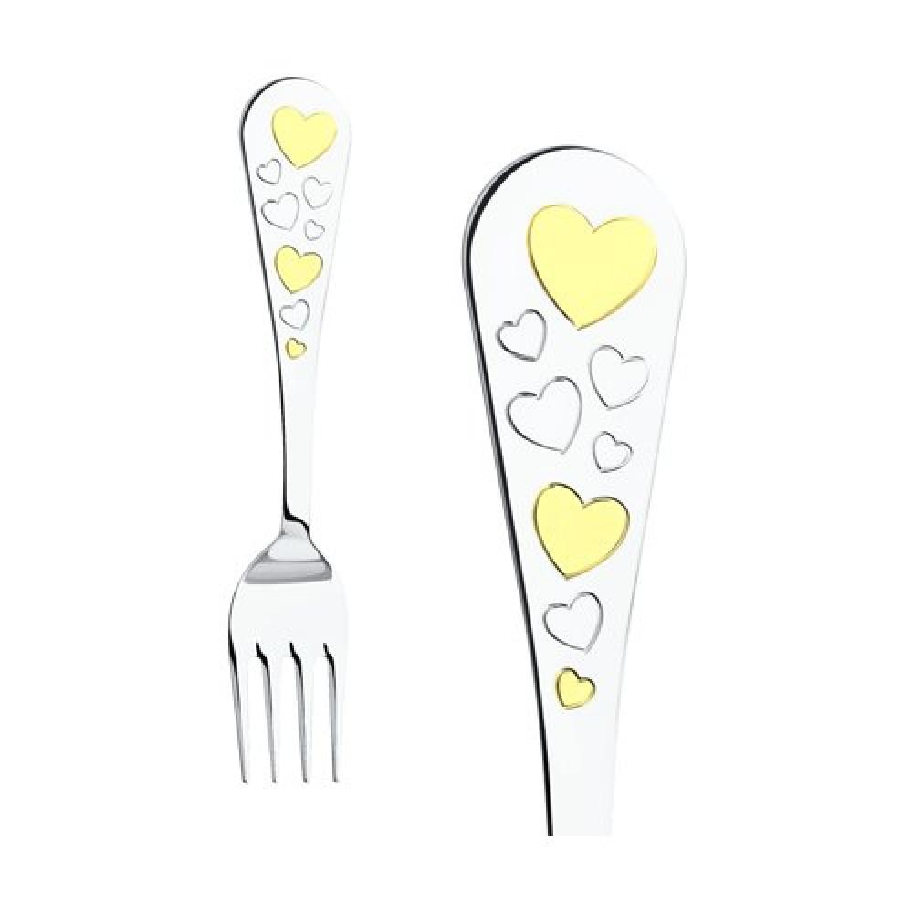 Набор детской посуды Сердечки из серебра sokolov