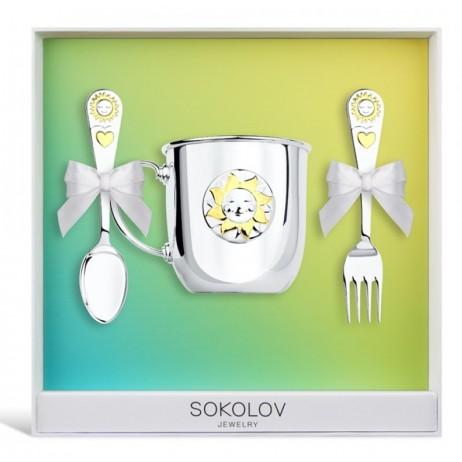 Детский серебряный набор Солнышко sokolov