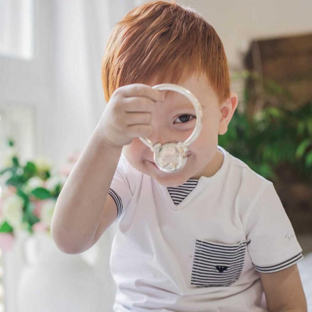 Детская погремушка Мишка серебряная