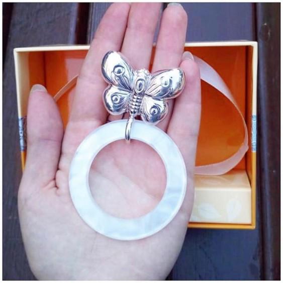 Детская погремушка Бабочка на кольце